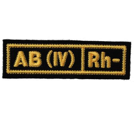 """AB(IV) RH-"" (blood type) Black patch (silk)"