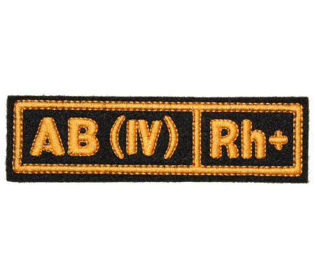 """AB(IV) RH+"" (blood type) Black patch (silk)"