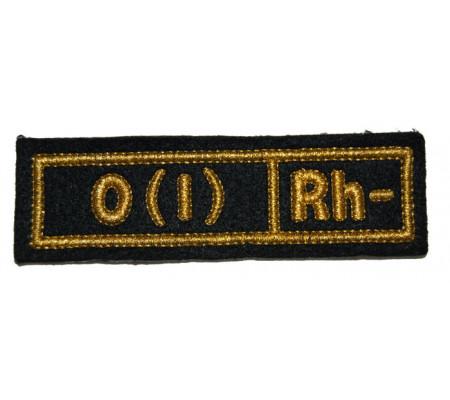 """O(I) RH-"" (blood type) Black patch (silk)"