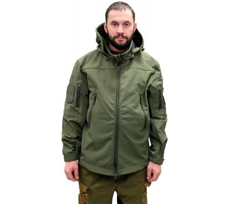 Demiseason jacket VKBO with hood Olive (softshell, fleece)